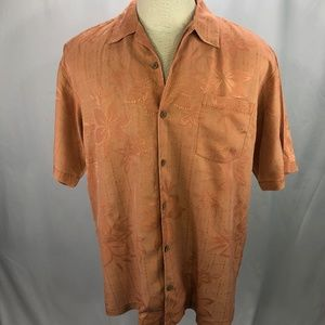 Tommy Bahama Mens Orange Silk Hawaiian Shirt L
